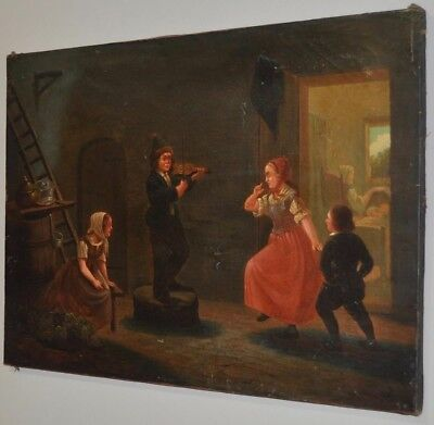 """Fine Antique Oil Painting """"Fiddle Break"""" Late 19th to Early 20th Century"""