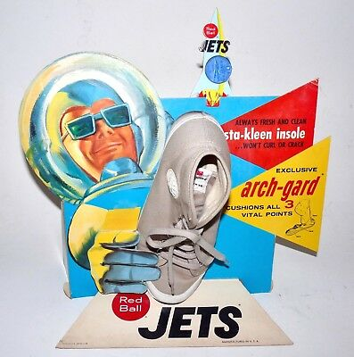 1960s Red Ball JETS Astronaut Spaceman SPACE Store Display RARE Vintage Shoes 1