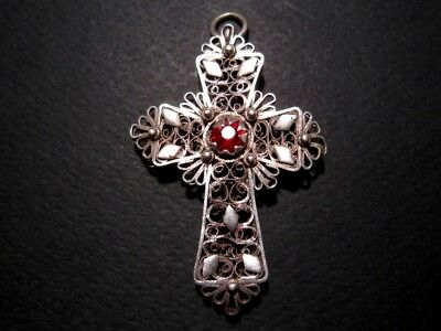 EXTREMELY RARE RUSSIAN ANTIQUE 1800s. SILVER FILIGREE DOUBLE CROSS w/ STONES+++