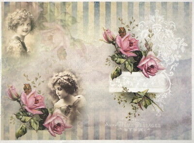 Rice Paper for Decoupage, Scrapbook Sheet, Girls with pink roses