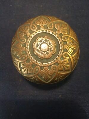 Antique Ornate Brass Door Knob - Victorian Eastlake Flower Floral Design