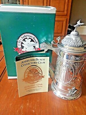 Budweiser 125th Anniversary Stein; Collectors Club CB20 Mint Private Collection
