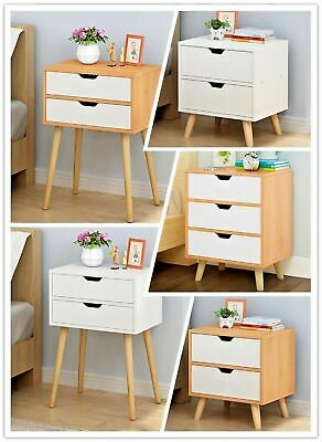 Wooden Bedside Table Drawers Nightstand Unit Cabinet Storage Bedside Table