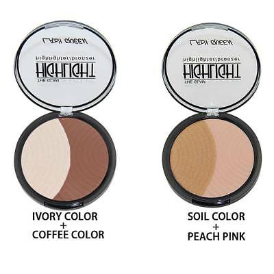 2 Color Face Contour Palette Highlighter Blush Shadow 3D Face Powder Makeup