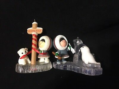 Hallmark No Box Ornaments Frosty Friends Lot 1988 North Pole 2000 Baby Seal