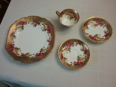 Royal Chelsea England Bone China GOLDEN ROSE Trio Fancy Tea Cup Saucer & Plate+