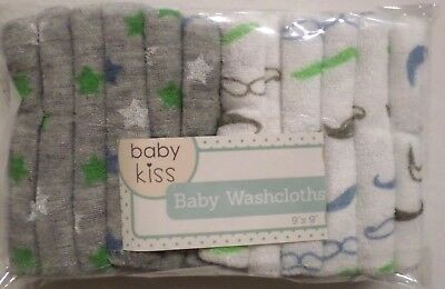 Baby Kiss Baby Boys Washcloths 12 pack Gray/White Stars/Mustaches Poly 9x9