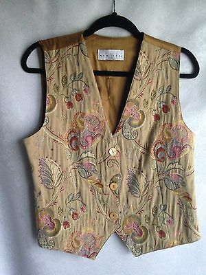 NEW YORK STYLE Vest Tan Green Tapestry Paisley Sleeveless Career Work No Size