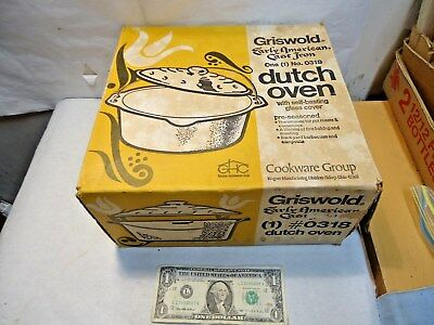 vintage Griswold Early American Cast Iron 0318 Dutch Oven Cardboard Box - NR