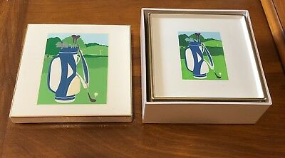 Set of 6 Vintage Otagiri Curtis-Swann Lacquerware Golf Coasters Great Condition