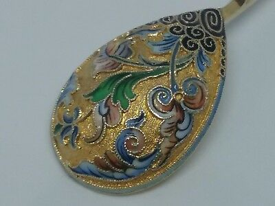 Antique Russian Imperial Silver 84 Enamel Spoon in a box, famous 11 Moscow Artel