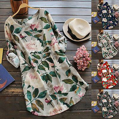 Women's Mini Dress Rolled Up Long Sleeve Floral Tunic Long Tops Casual Blouse