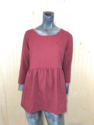 A Pea In The Pod Maternity Small Maroon Red Floral Textured Baby Doll Top