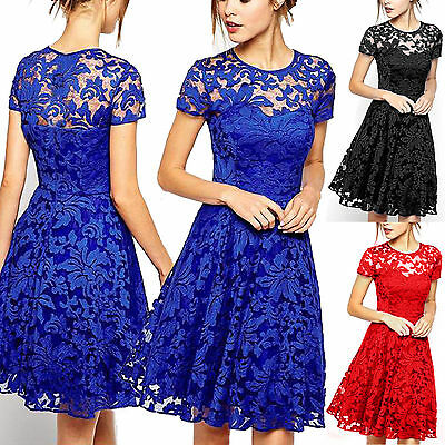 Plus Size Women Lace Prom Evening Party Cocktail Bridesmaid Wedding Mini Dress