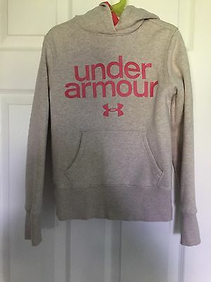 Under Armour UA Hoodie Girls Size Small 7-8 Oatmeal/ Coral EUC!