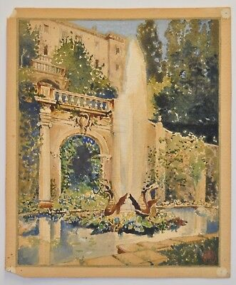"""Late 19th to Early 20th Century Watercolor """"Garden Fountain"""" c.1900"""