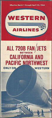 Western Airlines system timetable 3/1/64 [6031] (Buy 3+ Save 25%)