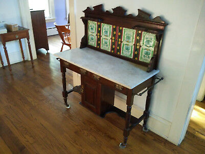 19th C. English Dry Sink. 1880s Beautiful Tiles Marble Table.