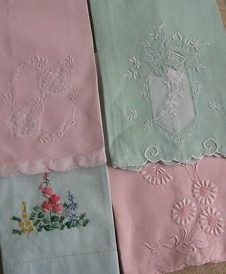 4 vintage GUEST HAND TOWELS green & pink embroidered