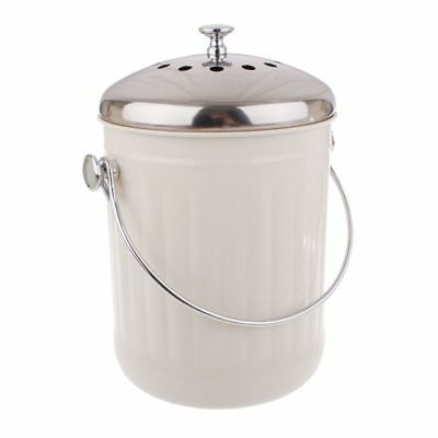 Appetito Stainless Steel  / White Kitchen Compost Bin 5L