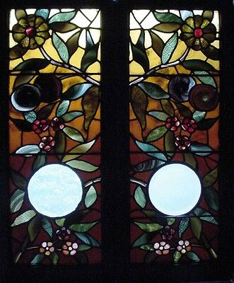 Pr. Antique American Stained & Beveled Floral Windows w/ lots of Plating