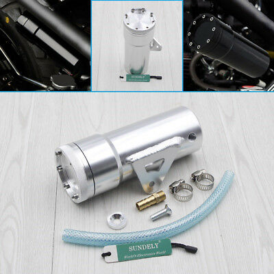 Motorcycle Oil Catch Tank Aluminum Coolant Reservoir Can Silver for Ruckus