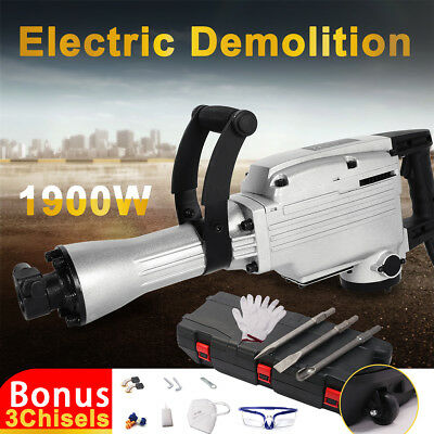 1900W Electric Demolition Hammer Jackhammer Rotary Hammer Concrete Drill+Chisels