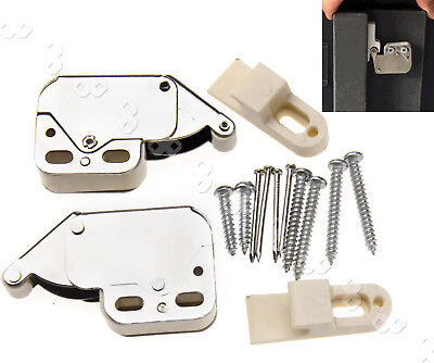 2pcs Spring Loaded Mini Tip Latch Cupboard Door Push To Open Touch Release Lock