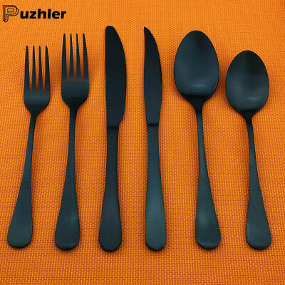 New 18/10 Stainless Steel Silverware Set Flatware Matte Black Fork Spoon Cutlery