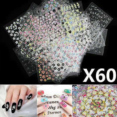 60 Pcs Sheets 3D Design Nail Art Manicure Stickers Tips Decal Flower Beautiful