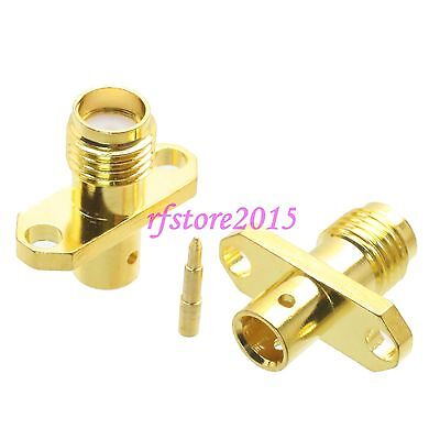 """1pce Connector RP-SMA female 2-holes Flange solder RG402 0.141"""" cable RF COAXIAL"""