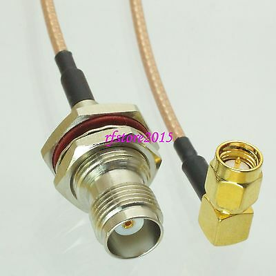 Cable RG316 6inch TNC female bulkhead to SMA male right angle RF Pigtail Jumper