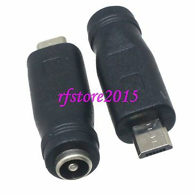 2pcs DC Power 5.5x2.1mm female to Micro USB 5 Pin Male for Power Supply Adapter
