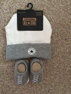 Converse Baby All Star Knit Booties And Hat 2 Piece Set Grey