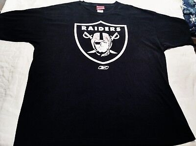 Raiders Graphic T-Shirt Mens Size XL Black With Large Logo Short Sleeves Vintage