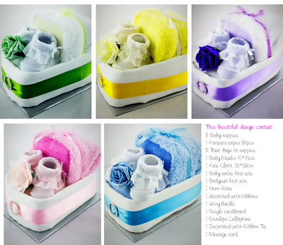 92bea6501 BABY BOY GIRL Single One Tier Nappy Cake Crib Baby Shower 5 Colours ...