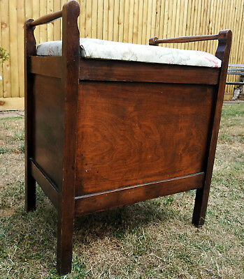 Vintage/Antique Upholstered Piano Stool/storage box seat.