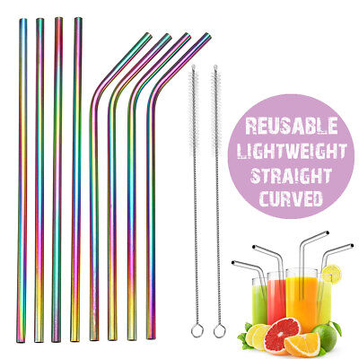 4x Reusable Rainbow Stainless Steel Metal Drinking Straw Straws & Cleaning Brush