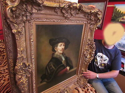 Oil Portrait Painting on canvas in Amazing Large Antique Style Gilt Frame