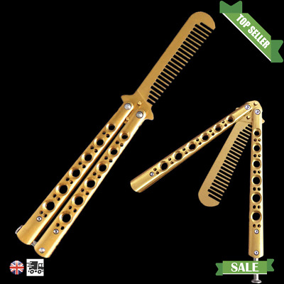 NEW Butterfly Flick Comb Switch Blade Novelty Toy Metal Brush Pocket Hair GOLD