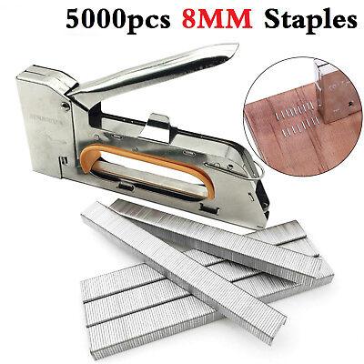 HEAVY DUTY 4 6 8MM Staple Gun Nailer Tacker Upholstery Stapler 5000 Staples &Box