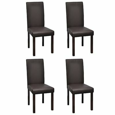 vidaXL 4x Dining Chair Brown Artificial Leather Wood Kitchen Furniture Seat#