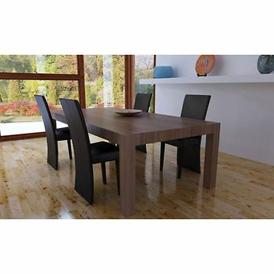 4 pcs Artificial Leather Wood Brown Dining Chair#