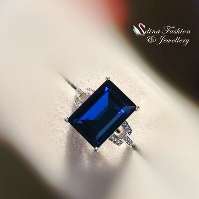 18K White Gold Filled Made With Swarovski Crystal Rectangle Cut Sapphire Ring