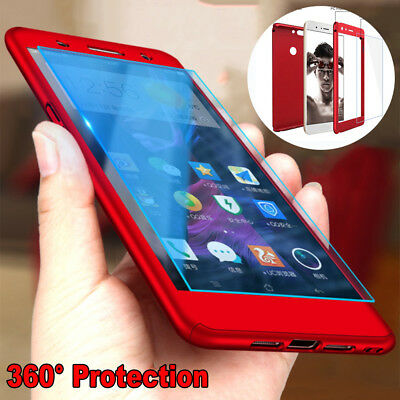 For Huawei Y5 Y6 Y9 2018 Hybrid 360° Full Protective Case Cover+ Tempered Glass