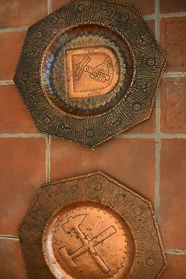 ANTIQUE MASONIC HAND CHASED COPPER CHARGERS GERMAN c1880