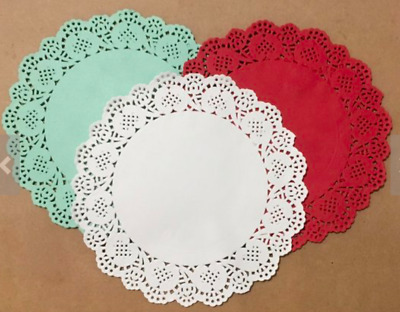 Large Paper Lace Doilies 10pcs Doily 19cm Red, White or Green Aussie Seller