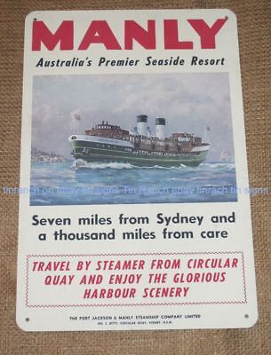 vintage MANLY tin SIGN New metal poster art! STEAMER BOAT travel steamship ship