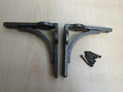 PAIR OF SMALL GALLOW  -industrial rustic vintage old  shelf support brackets