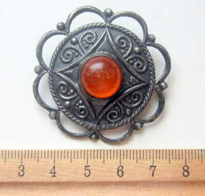 Antique Vintage Ornament Silver Brooch Pin Fibula With Amber And Pendants (6)